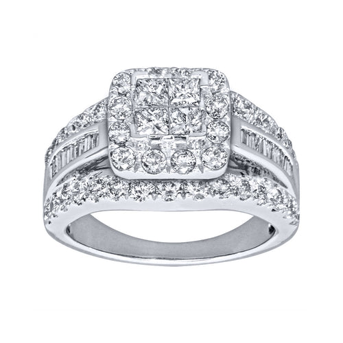 Halo Diamond Cluster Engagement Ring in 14K White Gold (2.00ct tw)