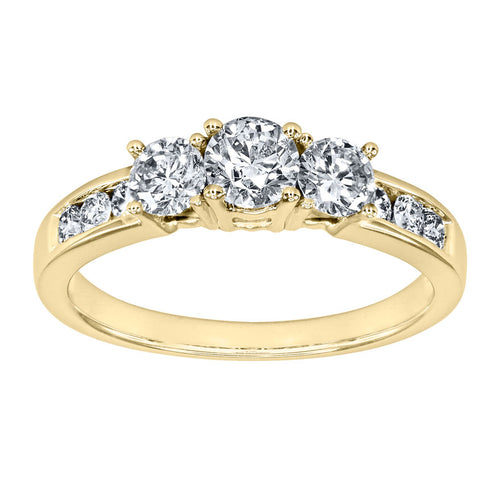 Three-Stone Diamond Engagement Ring in 10K Yellow Gold (1.00ct tw)