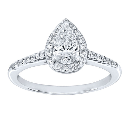 Pear Shape Diamond Halo Engagement Ring in 14K White Gold (0.75ct tw)