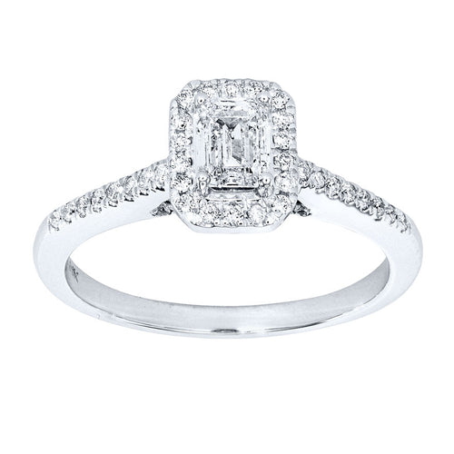 Emerald Cut Halo Diamond Engagement Ring in 14K White Gold (0.80 ct tw)