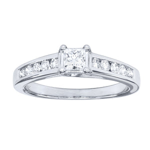 Princess Cut Diamond Engagement Ring In 14K White Gold  (0.66 ct tw)