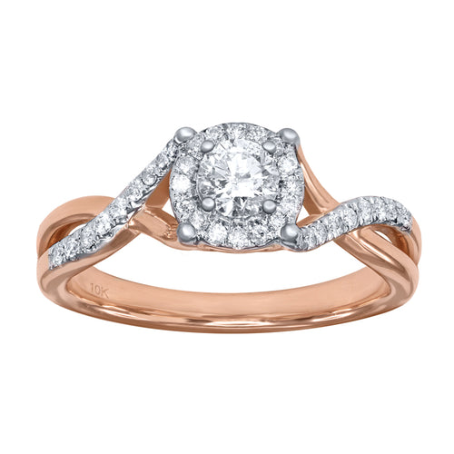 Infinity Twist Engagement Ring in 10K Rose and White Gold (0.50 ct tw)
