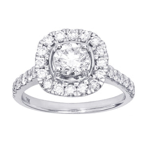 Halo Diamond Engagement Ring in 14K White Gold (1.5 ct tw)