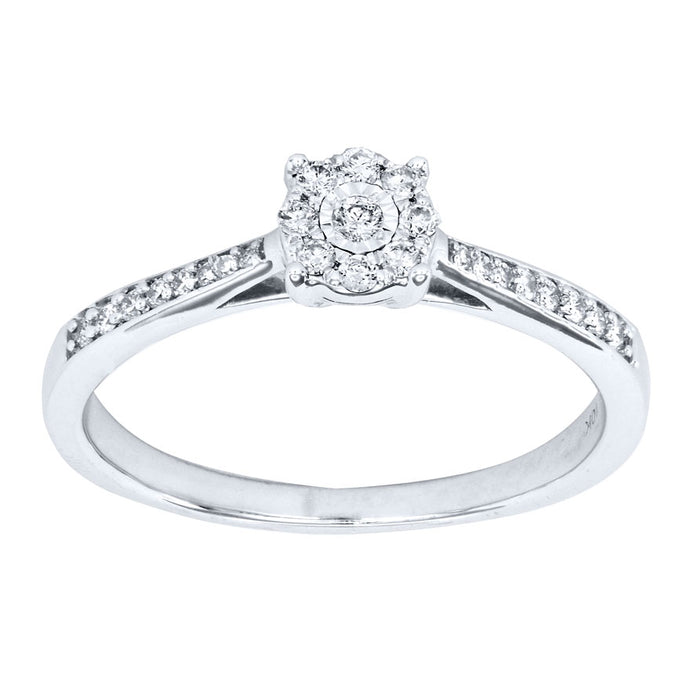 Diamond Cluster Ring In 10K White Gold (0.15 ct tw)