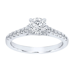 Diamond Accented Engagement Ring in 14K White Gold (1.00ct tw)