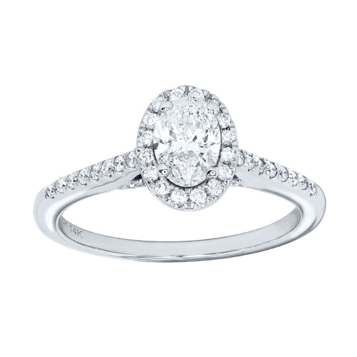 Oval Cut Diamond Engagement Ring in 14K White Gold (0.75 ct tw)