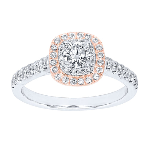 Diamond Halo Engagement Ring in Rose and White 14K Gold (0.75ct tw)