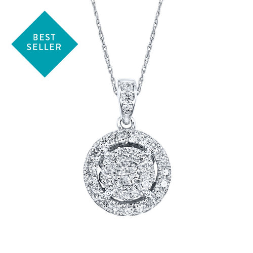Double Halo Diamond Necklace in 10K White Gold with Chain (0.45ct tw)