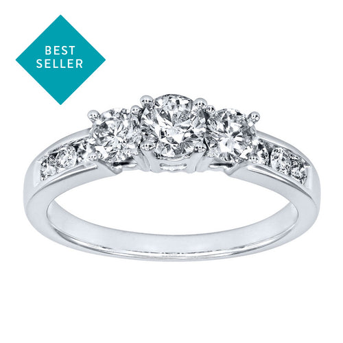 Three-Stone Diamond Engagement Ring in 10K White Gold (1.00ct tw)