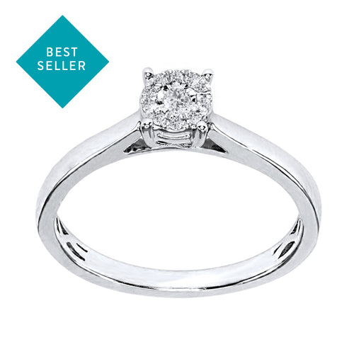 White Gold Diamond Cluster Promise Ring (0.05 ct tw)