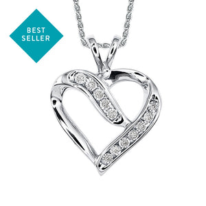 Diamond Cluster Heart Shaped Pendant in 10K White Gold (0.06 ct tw)