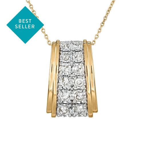 Diamond Cluster Necklace In 10K Yellow and White Gold (0.50ct tw)