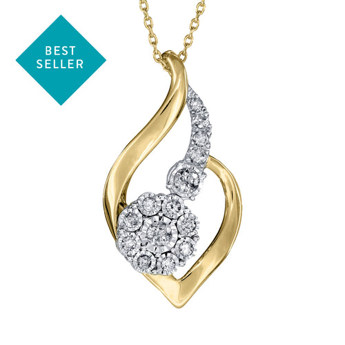 Diamond Pendant Necklace in 10K Yellow and White Gold (0.25ct tw)