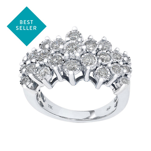 One Carat Diamond Cluster Ring in 10K White Gold (1.00ct tw)