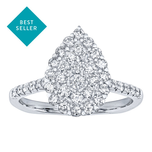 White Gold Pear Shape Diamond Cluster Ring in 10K White Gold (0.75ct tw)