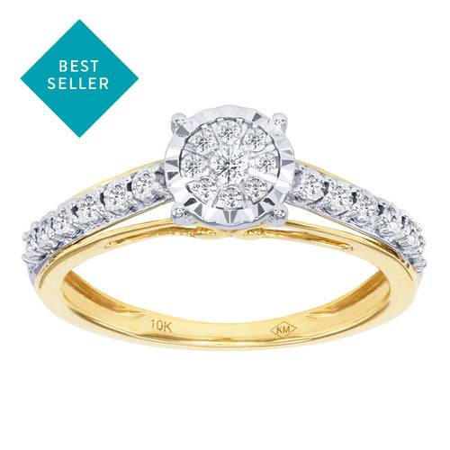 Diamond Cluster Promise Ring in 10K Yellow and White Gold (0.16 ct tw)