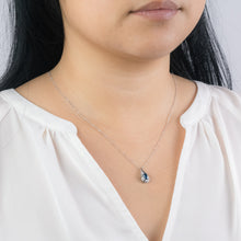 Load image into Gallery viewer, Oval Sapphire and Diamond Pendant Necklace in 10K White Gold