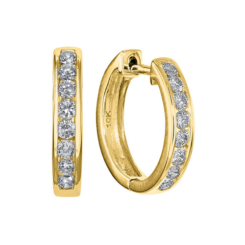Channel Set Diamond Hoop Earrings in 10K Yellow Gold (0.25 ct tw)