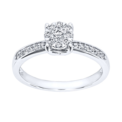 Cluster Centre Petite Engagement Ring in 14KW (0.29ct tw)
