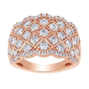 Diamond Cluster Ring in 14K Rose Gold (2.00ct tw)