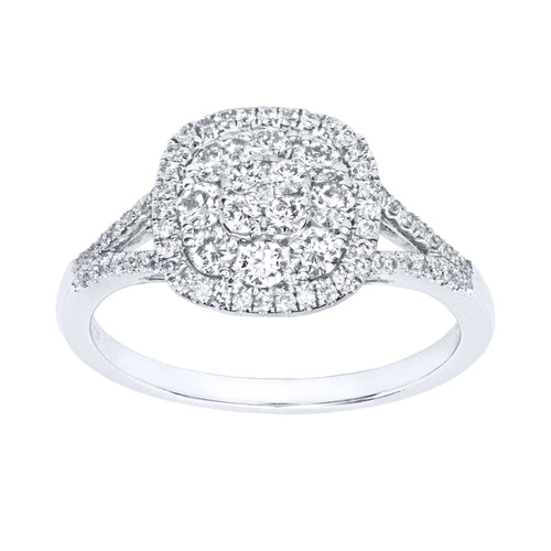 Diamond Cluster Statement Ring in 14K White Gold (0.62ct tw)
