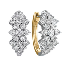 Load image into Gallery viewer, Diamond Cluster Hoop Earrings In 10K Yellow and White Gold (1.00 ct tw)