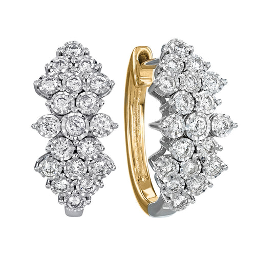 Diamond Cluster Hoop Earrings In 10K Yellow and White Gold (1.00 ct tw)