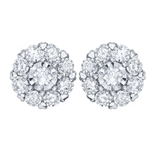 "Load image into Gallery viewer, ""Hidden Hearts"" 10K White Gold Diamond Cluster Stud Earring (1.00 ct tw)"