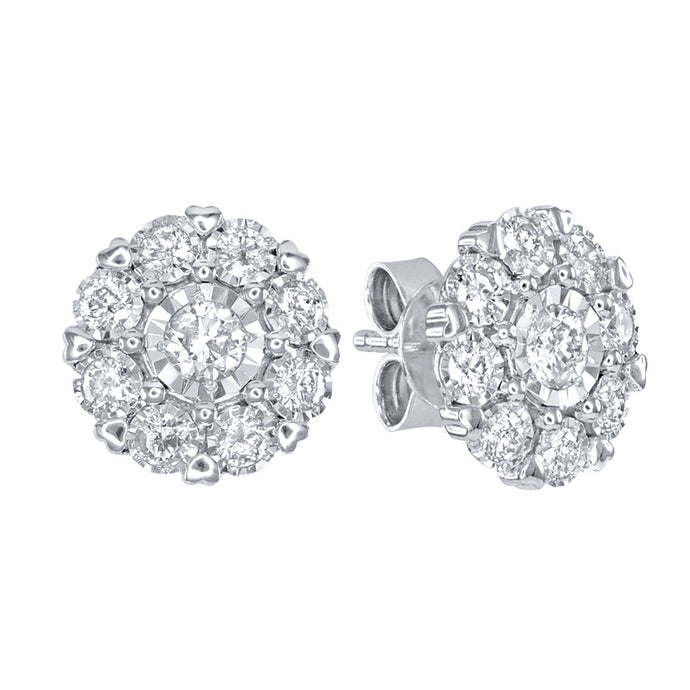 """Hidden Hearts"" 10K White Gold Diamond Cluster Stud Earring (1.00 ct tw)"