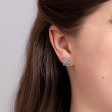 Load image into Gallery viewer, 10K White Gold Diamond Cluster Star Stud Earrings