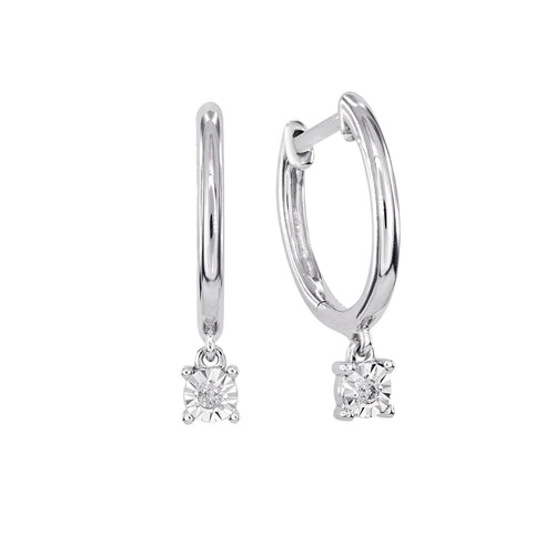 Diamond Dangle Hoop Earring In 10K White Gold