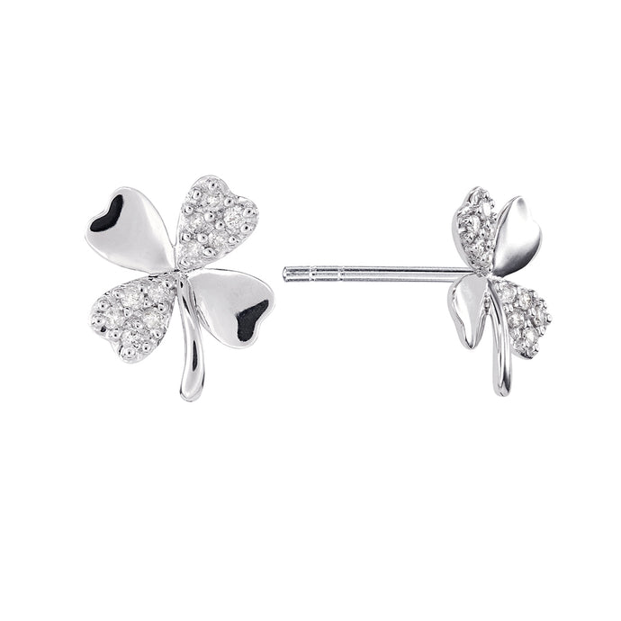 Clover Earrings With Diamonds in 10K White Gold