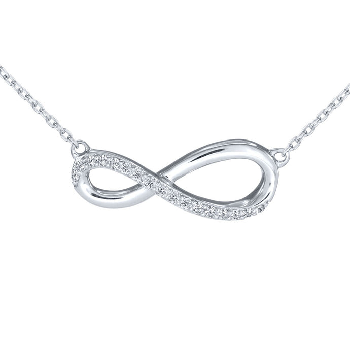 Pavé-Set Diamond Infinity Necklace In 10K White Gold (0.08 ct tw)