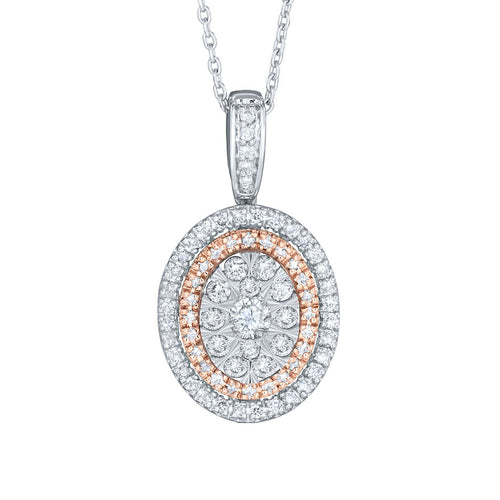 Diamond Cluster Pendant Necklace in 10K White and Rose Gold (0.50 ct tw)