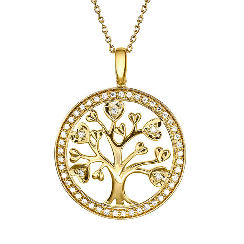 Family Tree Circle Diamond Pendant Necklace in 10K Yellow Gold (0.16ct tw)