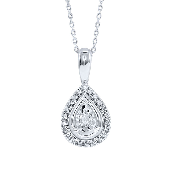 Miracle Mark Pear Shape Diamond Pendant Necklace in 10K White Gold (0.20ct tw)