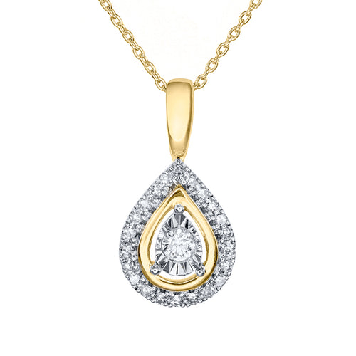 Miracle Mark Pear Shape Diamond Pendant Necklace in 10K Yellow Gold (0.20ct tw)