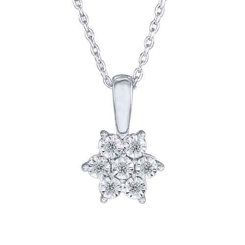 10K White Gold Diamond Cluster Flower Pendant (0.05 ct tw)