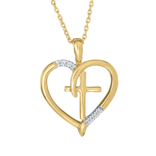 Diamond Accented Heart and Cross Pendant in 10K Yellow Gold (0.03 ct tw)