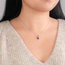 Load image into Gallery viewer, Sapphire and Diamond Pendant Necklace in 10K Yellow Gold