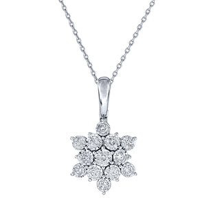 """Aria"" Star Diamond Pendant Necklace In 10K White Gold (0.50 ct tw)"