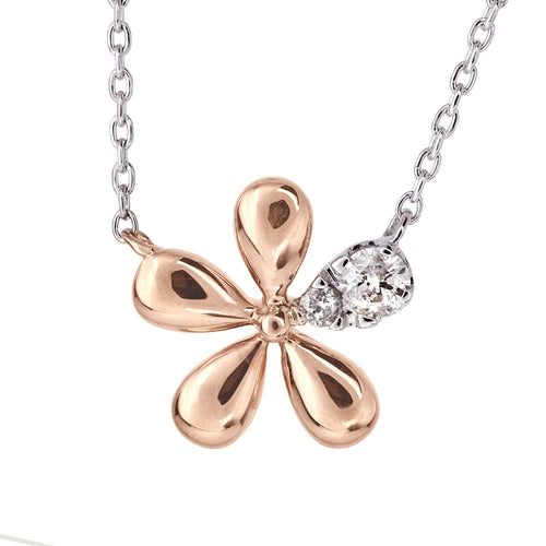 Flower Diamond Pendant in 10K Rose and White Gold
