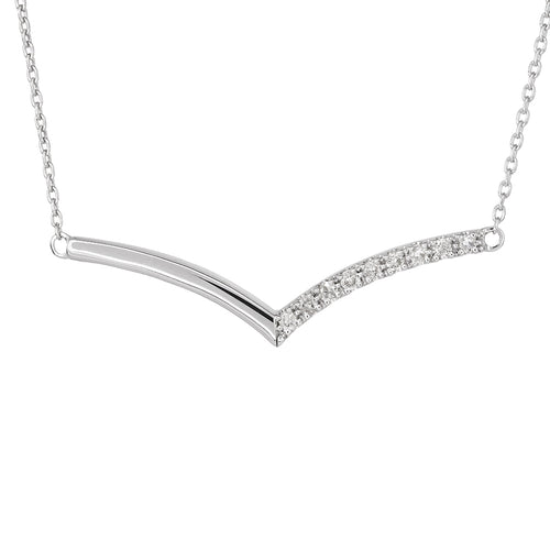 Diamond Chevron Necklace In 10K White Gold (0.09 ct tw)