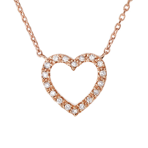 Diamond Heart Necklace 10 K Rose Gold