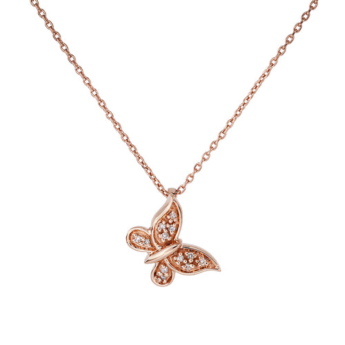 Butterfly Diamond Pendant in 10K Rose Gold