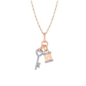 Lock and Key Pendant Necklace in 10K Rose Gold (0.08 ct tw)