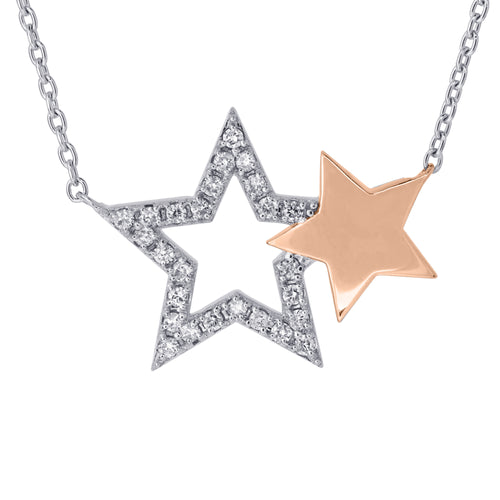 Double Start Diamond Pendant Necklace