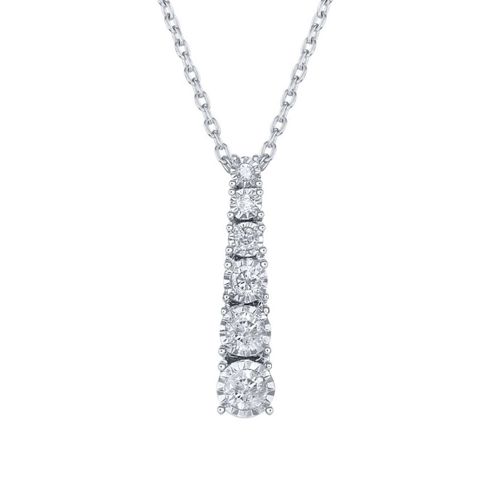 Diamond Drop Pendant in 10K White Gold (0.20 ct tw)