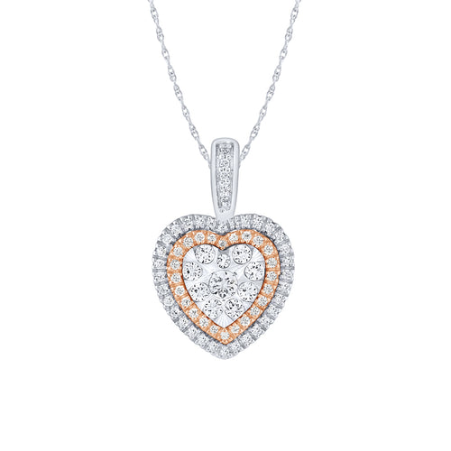 10K White and Rose Gold Diamond Cluster Heart Pendant (0.50 ct tw)