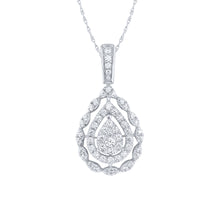 Load image into Gallery viewer, 10K White Gold Pear Shape Diamond Cluster Pendant (1.00 ct tw)